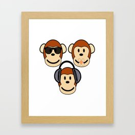 Illustration of Cartoon Three Monkeys - See, Hear, Speak No Evil Framed Art Print