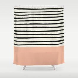 Peach X Stripes Shower Curtain