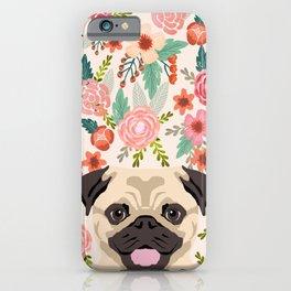 Pug floral dog portrait Pug dog peeking face gifts for dog lover pugs iPhone Case