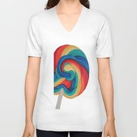 candy V-neck T-shirts featuring Candy  by ArtSchool
