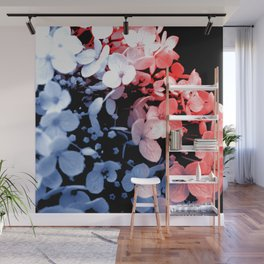 Red and blue effects on hydrangea Wall Mural