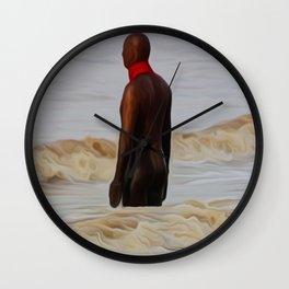 Gormley Statue in the Surf (Digital Art) Wall Clock