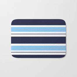 Blue Navy and Turquoise Stripes Bath Mat