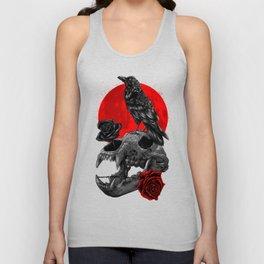 Raven skull bear moon Unisex Tank Top