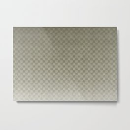 Olive Green Gingham Square Checker Board Pattern Metal Print