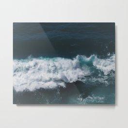 Crashing Waves Heart Metal Print