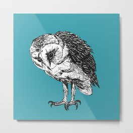 Barn owl pen drawing Metal Print