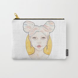 Clio, a Girl with Pink and Blue Streaked Blonde Hair Watercolor Illustration Carry-All Pouch