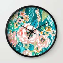 SUMMER IN MAUI Hibiscus Floral Wall Clock