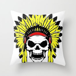 Skull Indian Chief Throw Pillow