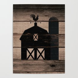 Black Rustic Barn & Rooster Poster