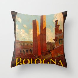 Bologna Travel Poster Throw Pillow