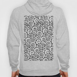 Modern Black and White Abstract Swirly Pattern Hoody