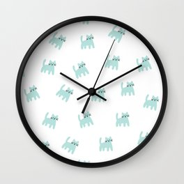 Cute mint hand drawn mouse pattern Wall Clock