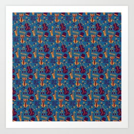 Cool Cat Pattern by Holly Shropshire Art Print