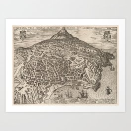 Vintage Map of Catania Italy (1597) Art Print
