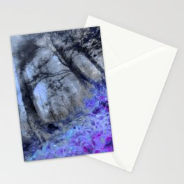 abstract misty forest painting hvhd hfc80 Stationery Cards