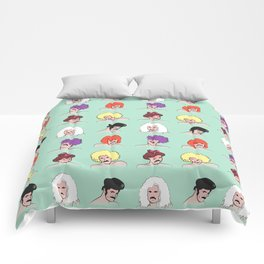 Moustaches and Wigs (pattern) Comforters
