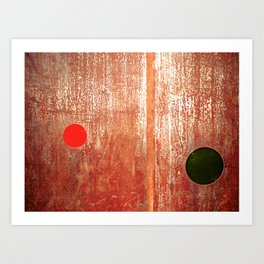 Metallic Face (Red Version) Art Print