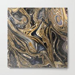 Black and Gold Liquid Marble Metal Print