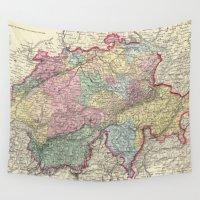 switzerland Wall Tapestries featuring Vintage Map of Switzerland (1856) by BravuraMedia
