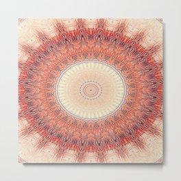Flattened Sun Wheel Mandala Metal Print