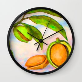 Branch of an almond tree in autumn Wall Clock