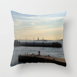 Hudson River meets Liberty Statue Throw Pillow