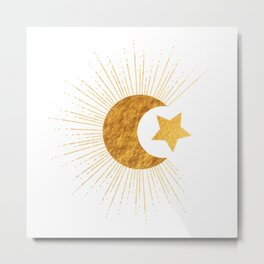 Celestial Gold - Sun Moon and Stars Series 2 Metal Print