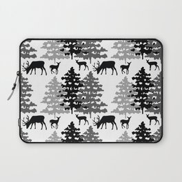 Woodland Rustic Deer Winter Mountain Forest Trees Laptop Sleeve