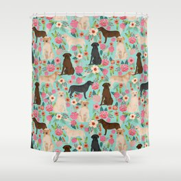 Labrador Retriever dog breed floral pattern for dog lover chocolate lab golden retriever labradors Shower Curtain