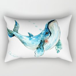 Humpback Whale Artwork Children Illustration Cute little Whale Rectangular Pillow