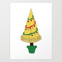 Merry Christmas Pizza Tree Art Print