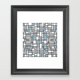 Map Lines Sky Blue Framed Art Print