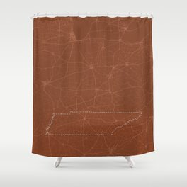 Burnt Orange Map of Tennessee Shower Curtain