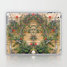 Red flowers on the yellow wall Laptop & iPad Skin