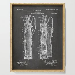 Golf Bag Patent - Caddy Art - Black Chalkboard Serving Tray