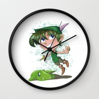 peter pan Wall Clocks featuring Peter Pan by EY Cartoons