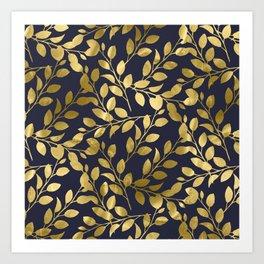 Gold Leaves on Navy Art Print