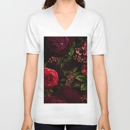 Mystical Night Roses Unisex V-Neck