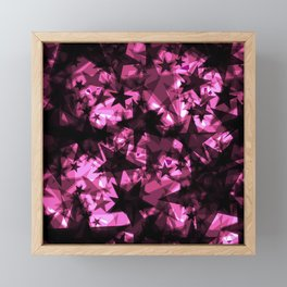 Metallic iridescent dark stars on a pink background in the projection. Framed Mini Art Print