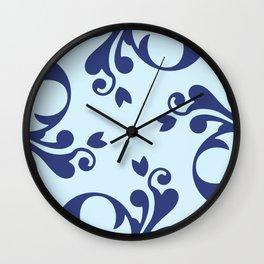 French Damask, Ornaments, Swirls - Blue  Wall Clock