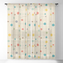 Mid-Century Dots Pattern Sheer Curtain