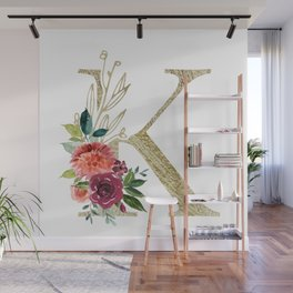 """""""K"""" Initial, Monogram in Gold and Flowers Wall Mural"""