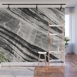 Abstract Marble - Black & Cream Wall Mural