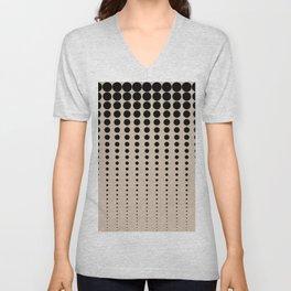 Reduced Black Polka Dots Pattern on Solid Pantone Hazelnut Background Unisex V-Neck
