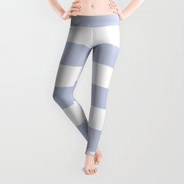 Light periwinkle - solid color - white stripes pattern Leggings