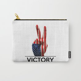 Hand making the V sign united states country flag painted Carry-All Pouch