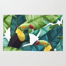 Toucans Tropical Banana Leaves Pattern Rug