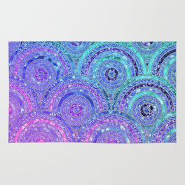 Aqua Blue Purple and Pink Sparkling Glitter Circles Rug